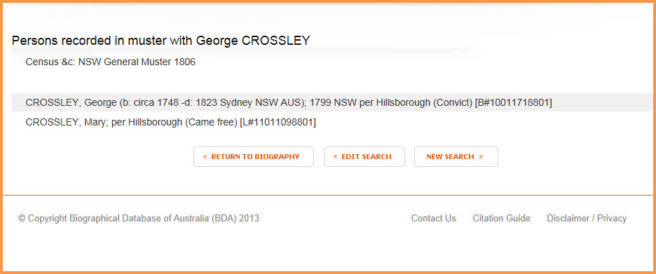 George Crossley : Persons recorded in 1806 Muster (with wife) for Web